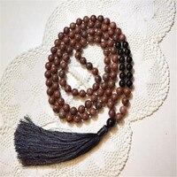 8 мм Сердолик черный оникс 108 кисточек ожерелье MONK Bless Lucky fengshui Sutra элегантный Йога Энергия молиться DIY Ruyi унисекс