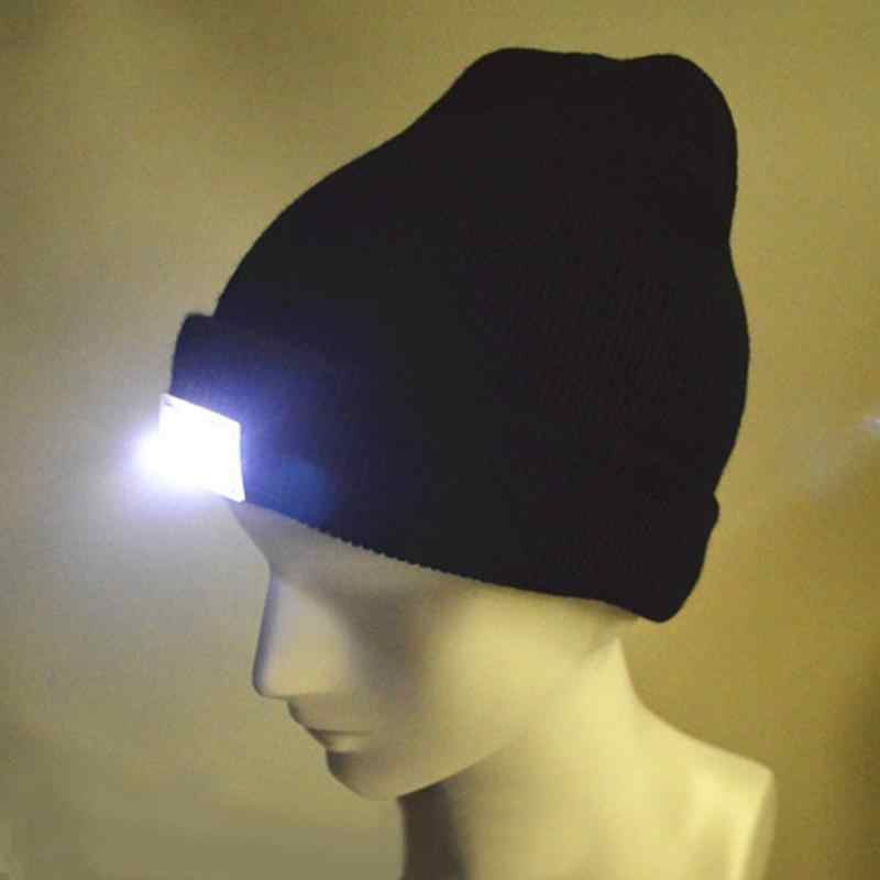 0aedab9eab295 ... Warm Winter Casual Unisex Lighting Cap LED Light Hat Beanies for Fishing  Hunting Camping Black Caps ...