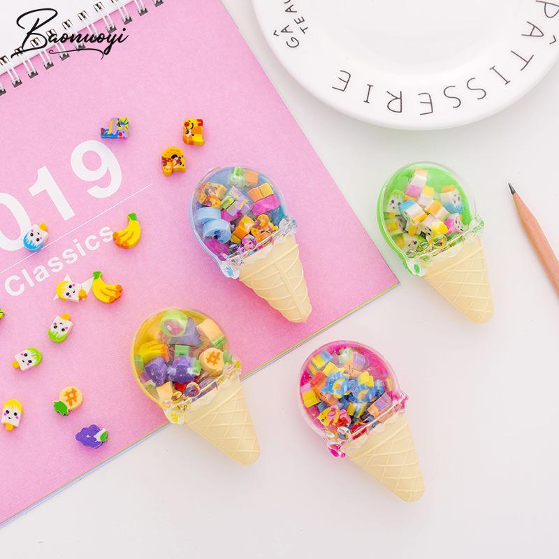 20Pcs/Set Novelty Big Fruit Cuisine Shape Eraser Rubber Eraser Primary School Student Bts Promotional Gift Stationery Tools