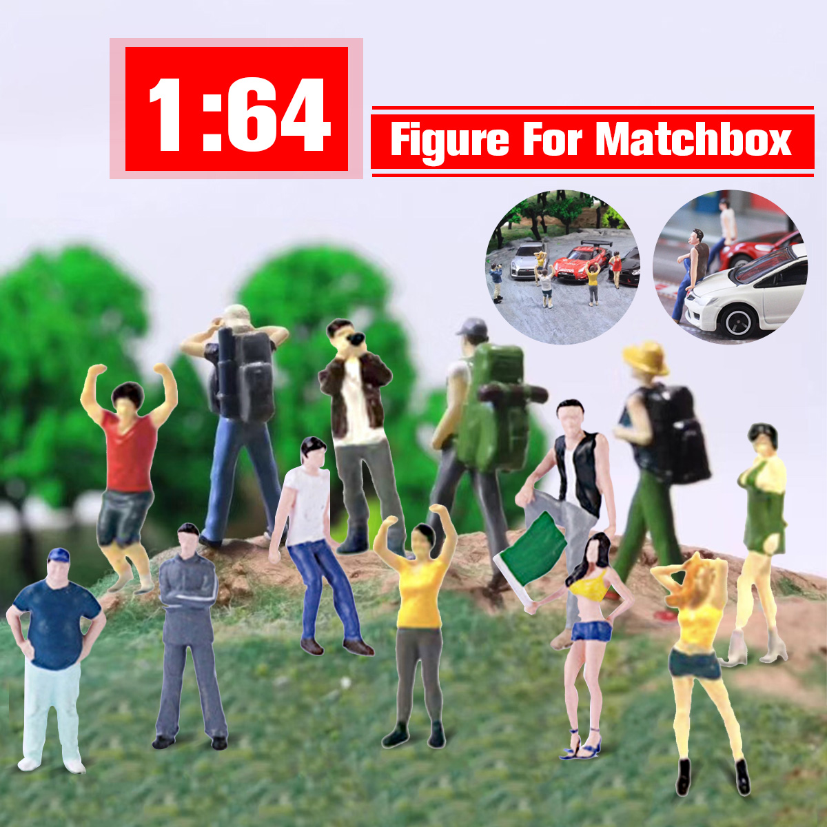 5Pcs/set Race Medal 1:64 The Playing Field Scale Figure Backpacker People Scenario Model Set For Matchbox Children Toy Group