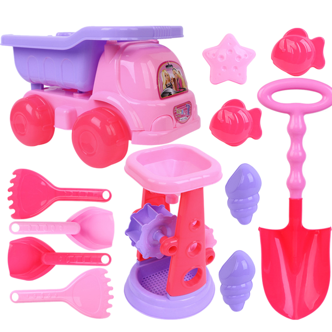12Pcs Beach Toys Sand Play Set Educational Toy With Little Princess Beach Buggy For Children