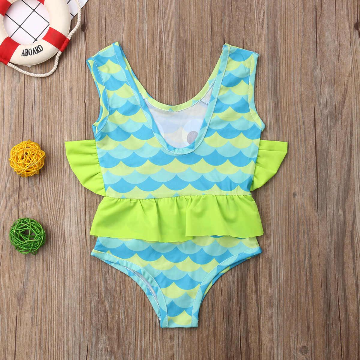 d37cef083f4a0 ... 2019 Brand New Toddler Kid Baby Girl Fish Tankini One Piece Ruffled Cotton  Bikini Swimwear Swimsuit ...