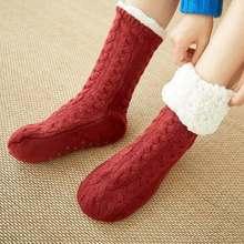 Autumn Winter Thicken Plush Knitted Cotton Socks Women Non-slip Home Floor Socks Warm Mid-calf Hosiery For House Slippers New