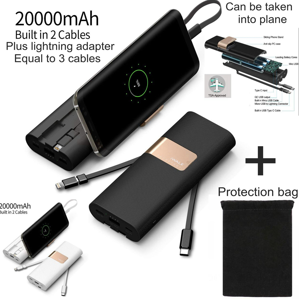 IWalk 20000mah batterie externe Charge rapide QC 3.0 Powerbank USB C avec câble de Type C pour Xiaomi Mi8 Nexus 5X6 P iPhone X Huawei P20