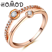 HOMOD AAA Zircon Engagement Rings For Women Rose Gold Color Wedding Female Anel Austrian Crystals Jewelry Top Quality