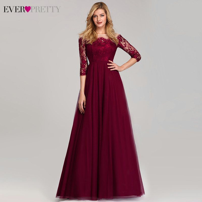 Sexy Burgundy   Prom     Dresses   Long A-Line 3/4 Sleeve Off the Shoulder Beading Tulle Ever Pretty 2019 Lace Elegant Party Gowns