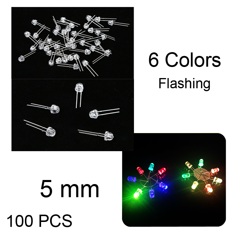 3mm Flashing Red Round Top Ultra Bright LED Bulbs Diodes Clear Lens