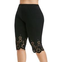 ROSE GAL Summer Leggings Plus Size Pant Laser Cutting High Waist Legging Women Cotton Short Lace Skinny Leggings Push Up Trouser plus size lace trim short leggings