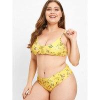 ZAFUL Plus Size Swimwear High Leg Floral Bikini Set 2018 Sexy Bathing Suit Swimsuit Female Thong Bikini Push up mujer Big Size
