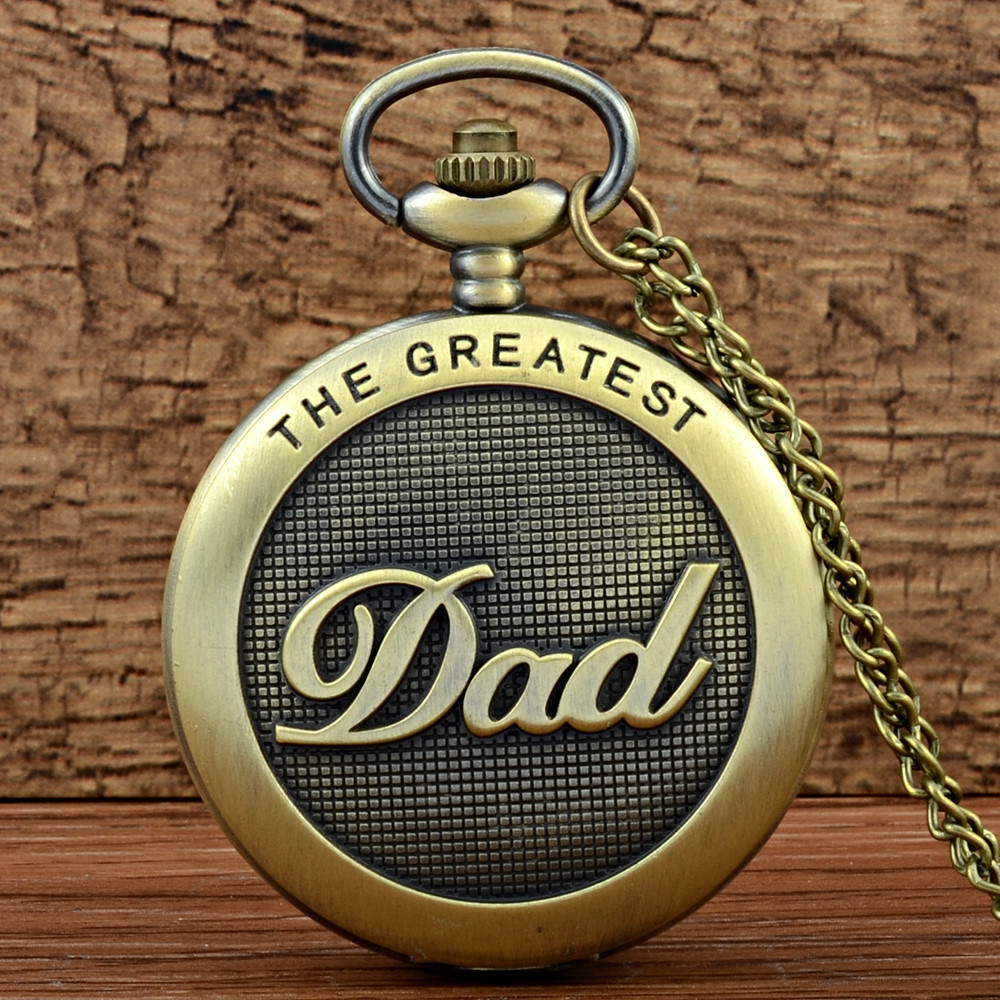 IBEINA DAD Theme Full Hunter Quartz Engraved Fob Retro Pendant Pocket Watch Chain Gift For Fathers Day
