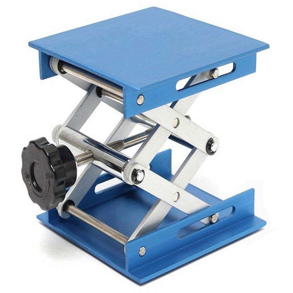 Set of 2 Alumina Lab Lifting Scissor Jack Platform 100x100x150mm Blue