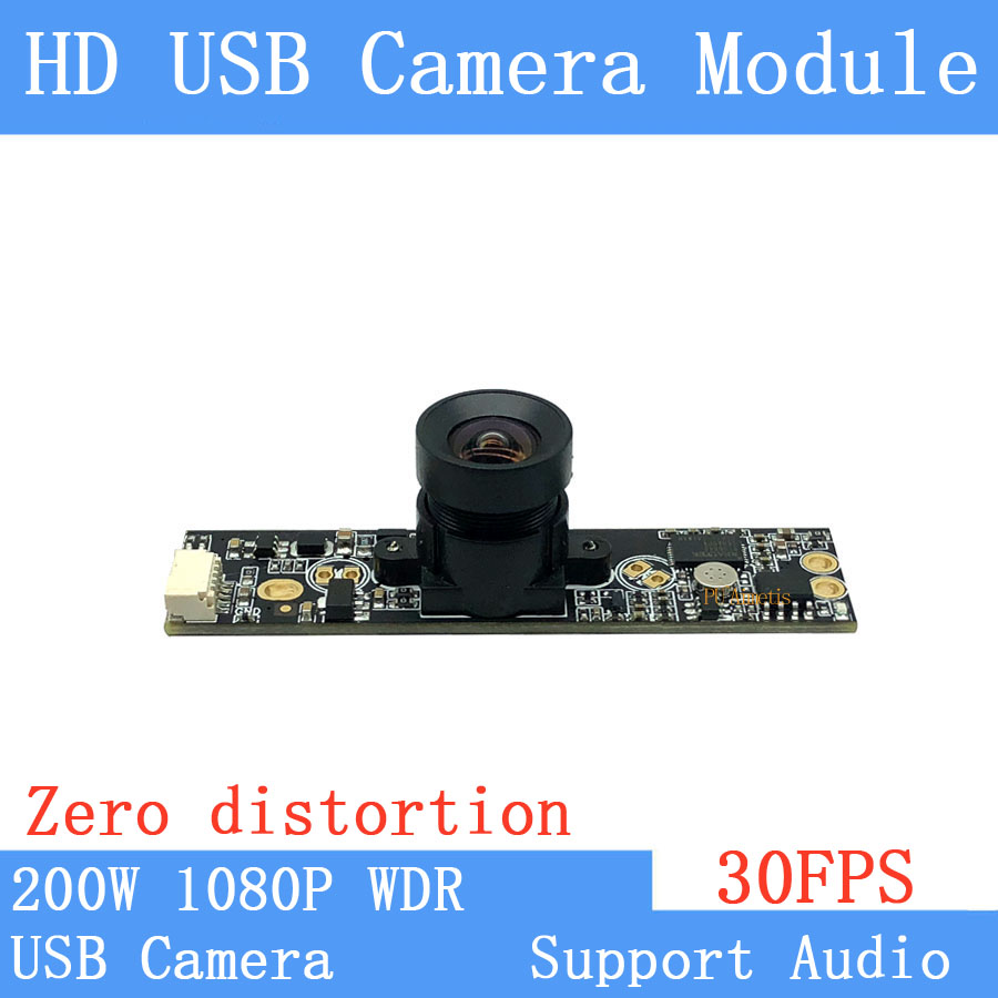 Non Distortion Industrial Surveillance camera WDR 2MP Full HD 1080P Webcam UVC 30FPS USB Camera Module