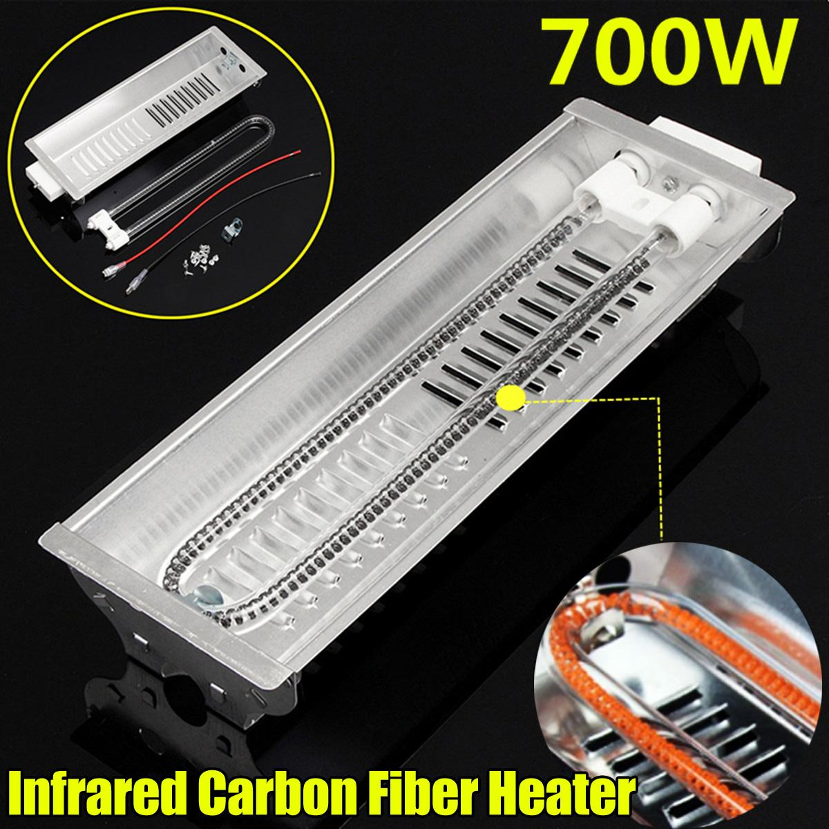700W Far Infrared Double Carbon Fiber Heater Radiant Wave Paint Curing Heating Lamp For Baking OvenElectric Heaters   -