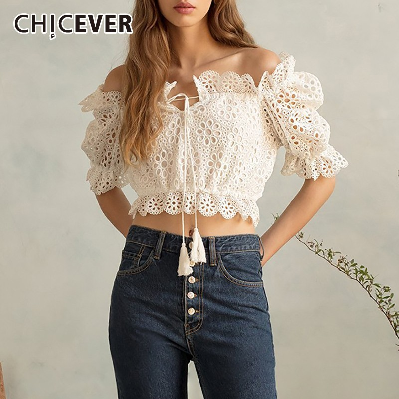 CHICEVER Summer Sweet White Off Shoulder Hollow Out Embroidery Women Shirt Slash Neck Lantern Sleeve Bow Short Tops Blouse 2019-in Blouses & Shirts from Women's Clothing on AliExpress - 11.11_Double 11_Singles' Day 1