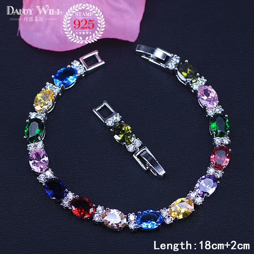 Summer Colorful 925 Sterling Silver Jewelry White Zirconia Women Trendy Bracelets With Rose Red Blue Green Stone BR77(China)