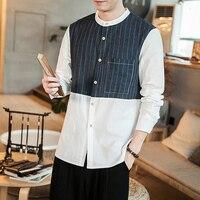 Camisa Masculina High Quality Vintage Men Breathable Classic Shirt 2019 Summer Stripe Splice Long Sleeve Men Shirt Dress Shirt