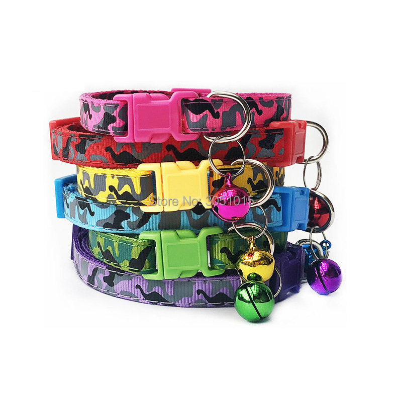 Wholesale 100Pcs Cat Collar with Bell Fashion Camouflage Print Small Dog Puppy Kitten ID Collars Adjustable Cat Supplies-in Collars from Home & Garden    1