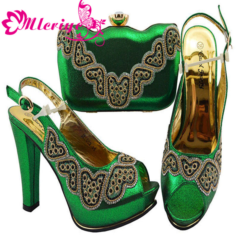 GREEN JZC002High class green African high heel pump shoes matching with purse bag set for fashion lady