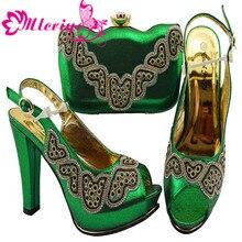 10cd7866abeaca GREEN-JZC002High classe vert Africain à talons hauts pompe chaussures  correspondant avec la bourse sac ensemble pour la mode lad.