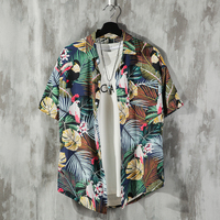 2019 Summer Men's Leisure Lovers Flower Printing Clothes Patchwork Hawaiian Male Shirt French Cuff Brand Fashion Shirts M 5XL