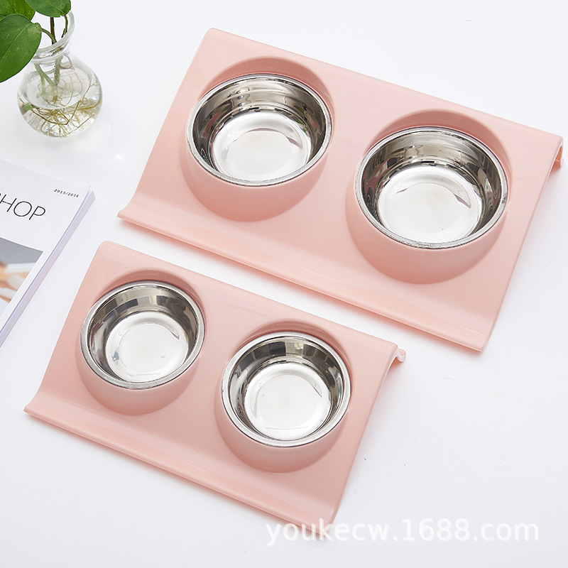 Stainless Steel Double Pet Bowls For Dog Puppy Cats Food Water Feeder Pets Supplies Feeding Dishes Dogs Food Bowl Pet Products