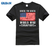 GILDAN Back to World War Champions T-shirt Patriotic USA Tee