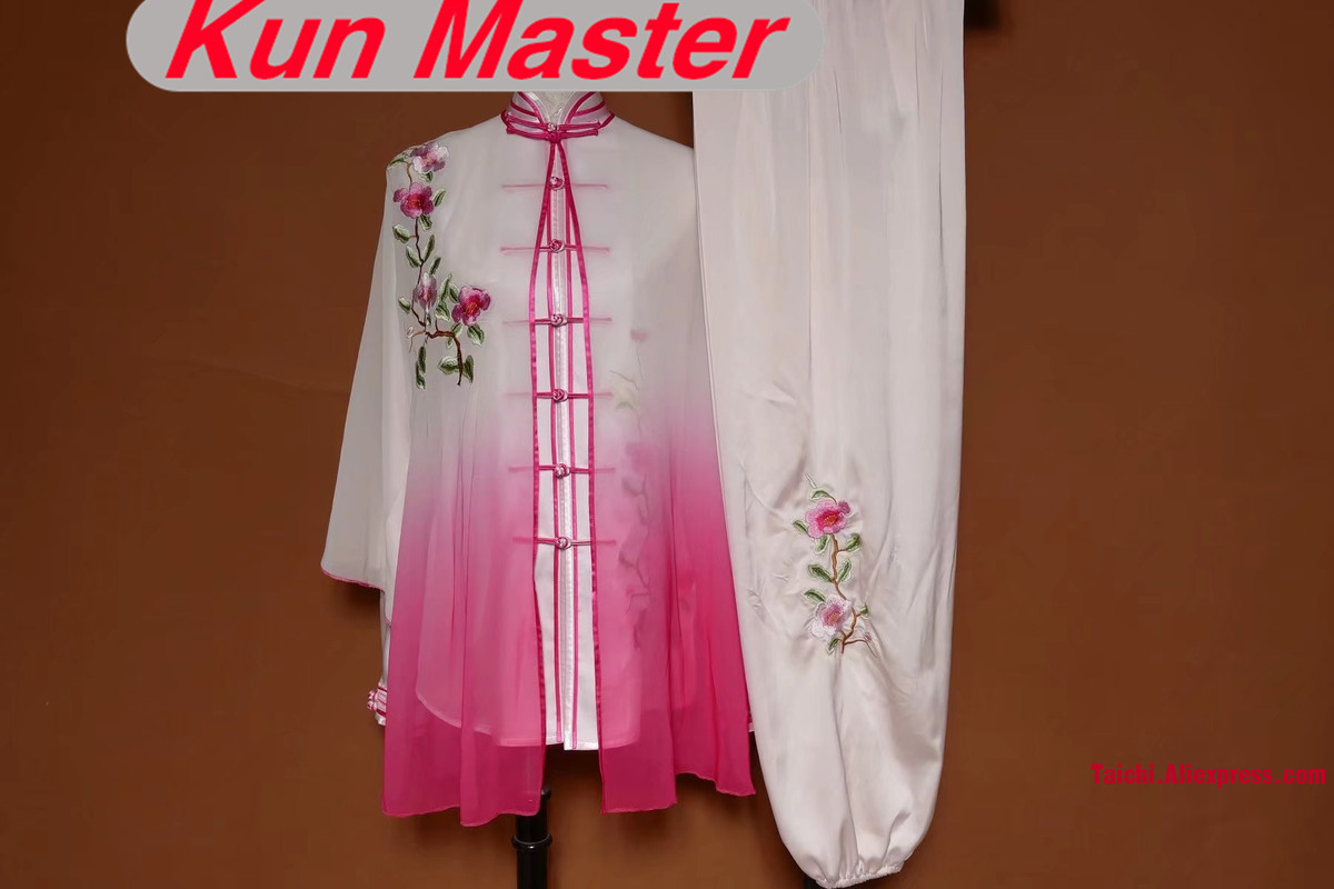 Lady Custom Tai Chi Performance Uniform Embroidery  Martial Art Clothing For Kung Fu Three Pieces Veil Jacket And Pants