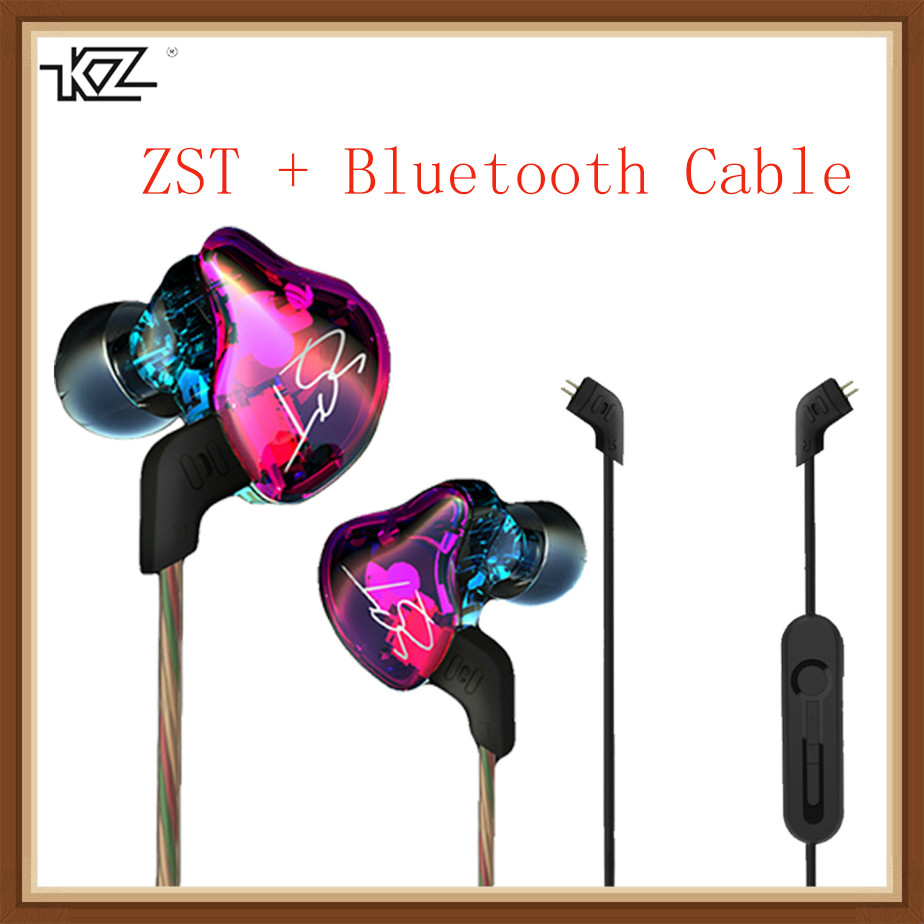 KZ ZST Hybrid Earphone Bluetooth+Wired 2 Cables Armature+Dynamic Drive HI-FI Bass Earphones For Sport Music Smart Phones Earbuds