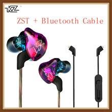 Kz zst fone de ouvido híbrido com bluetooth, fone de ouvido com fio e 2 cabos armadura + unidade dinâmica hi-fi bass, esportes e música smart fones de ouvido
