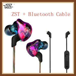 KZ ZST Hybrid Earphone Bluetooth+Wired 2 Cables Armature+Dynamic Drive HI-FI Bass Earphones for Sport Music Smart Phones Earbuds(China)
