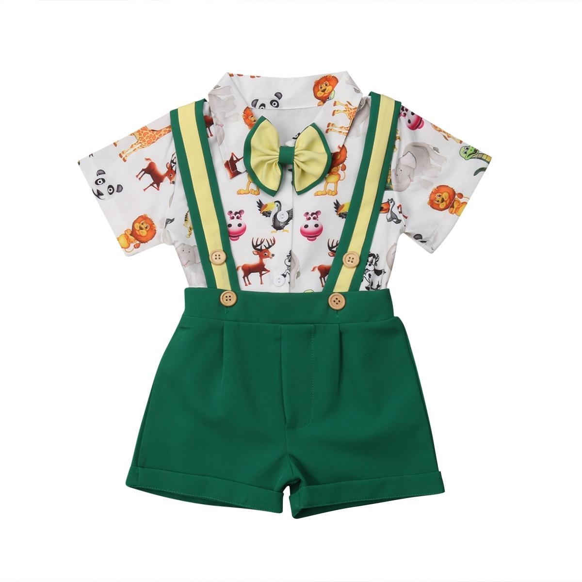 678fe9767 Niño niños conjuntos de ropa traje Formal traje camiseta tirantes  pantalones cortos de algodón trajes conjunto niño de 6 m-5 T