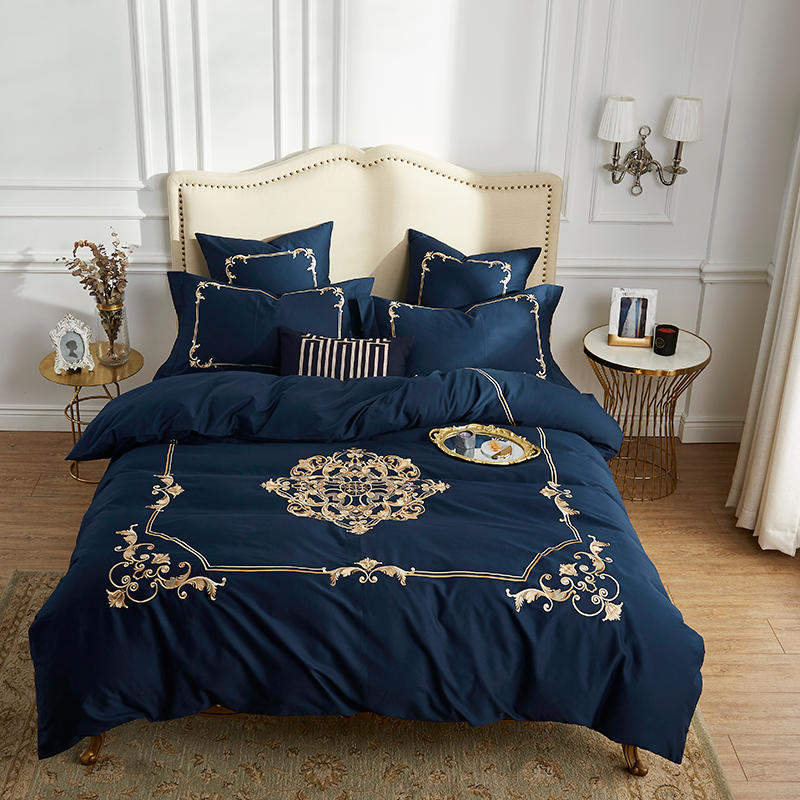 60 S coton égyptien hommage soie luxe Royal ensemble de literie 4 pièces roi reine taille noir drap de lit ensemble housse de couette taies d'oreiller 22