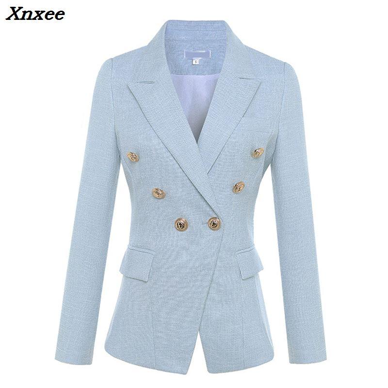 Kadın Giyim'ten Blazerler'de Kadın blazer uzun kollu kruvaze metal aslan düğmeleri ceket ceket resmi ofis bayan moda blazer feminino giyim'da  Grup 3