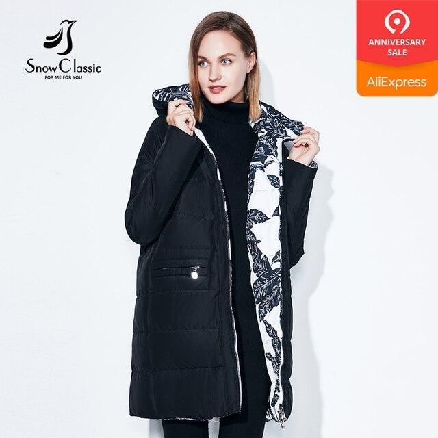 Fashionabl зимняя куртка женские большие размеры 7XL принт парка обе стороны можно носить пальто хлопковые одежда теплые куртки snowclassi