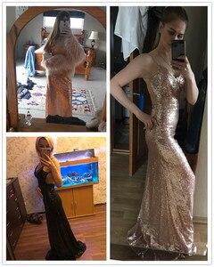 Image 4 - Seksowne sukienki na bal długi 2020 tanie głębokie dekolt bez rękawów Spaghetti pasek cekinami Sparkle Mermaid Prom Dresses Vestido De Festa