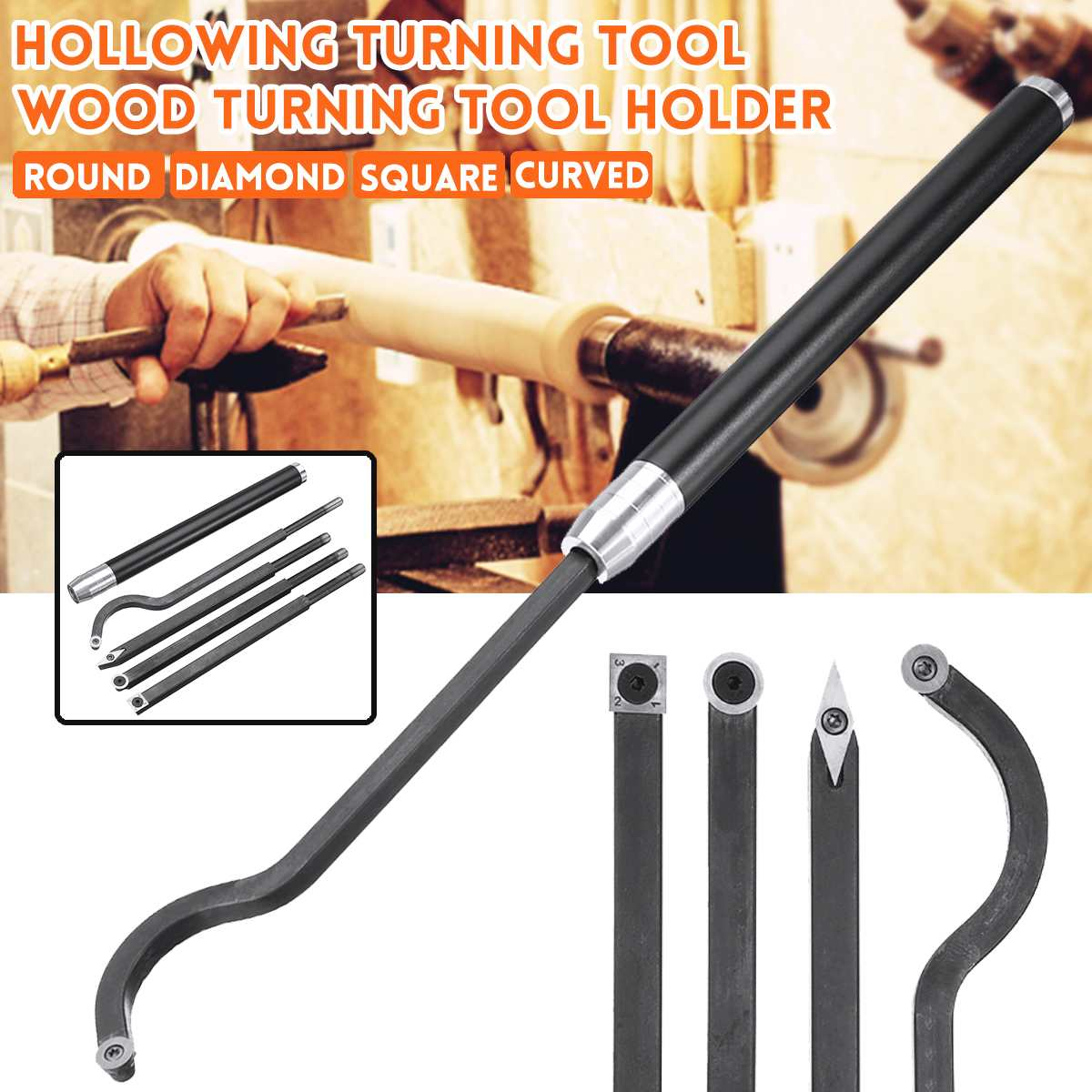 Hollowing Wood Turning Tool Holder Rotary Chisel Round/Diamond/Square/Curved Woodworking turning tool Lathe New ArrivalHollowing Wood Turning Tool Holder Rotary Chisel Round/Diamond/Square/Curved Woodworking turning tool Lathe New Arrival