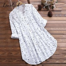 Womens Blouses Spring Cotton Linen Long Sleeve Floral Print Tops And Button Korea Style White Top Plus Size