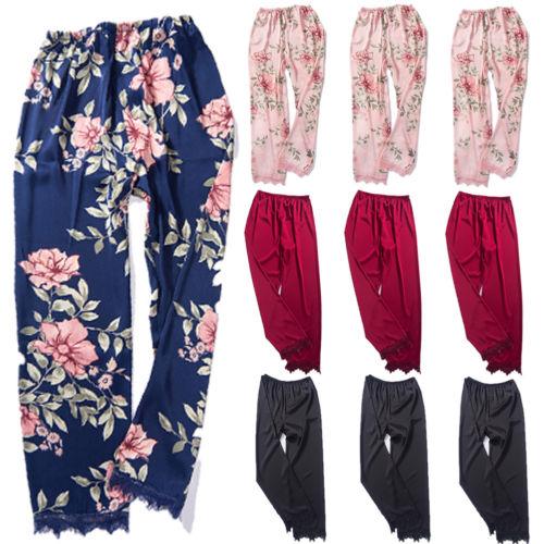 9ccbc07a13 Detail Feedback Questions about Floral Print Women Lady Silk Satin Pajamas  Pant Pyjama Sleepwear Nightwear Loungewear Homewear Soft Loose Casual Pants  on ...