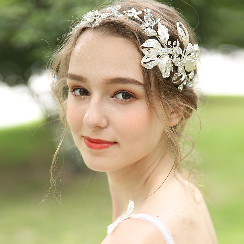 Luxury Silver Leaf Tiara Headbands Alloy Wedding Hair Accessories Hair Decoration Pearl Rhinestone Head Wear Hair Ornaments