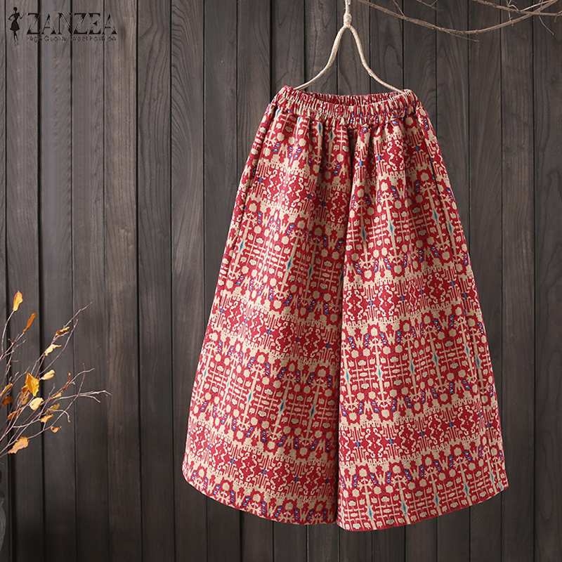 2019 ZANZEA Women Boho Wide Leg Pants Casual Elastic Waist Floral Printed Pantalon Ladies Loose Cotton Harem Trousers Plus Size