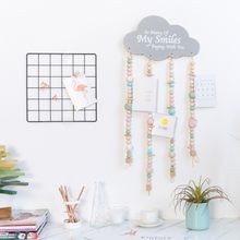 Nordic Style Cloud-shaped Wooden Beads Tassel Pendant Wind Chime Hanging Children's Room Nursery Decoration Photography Props(China)