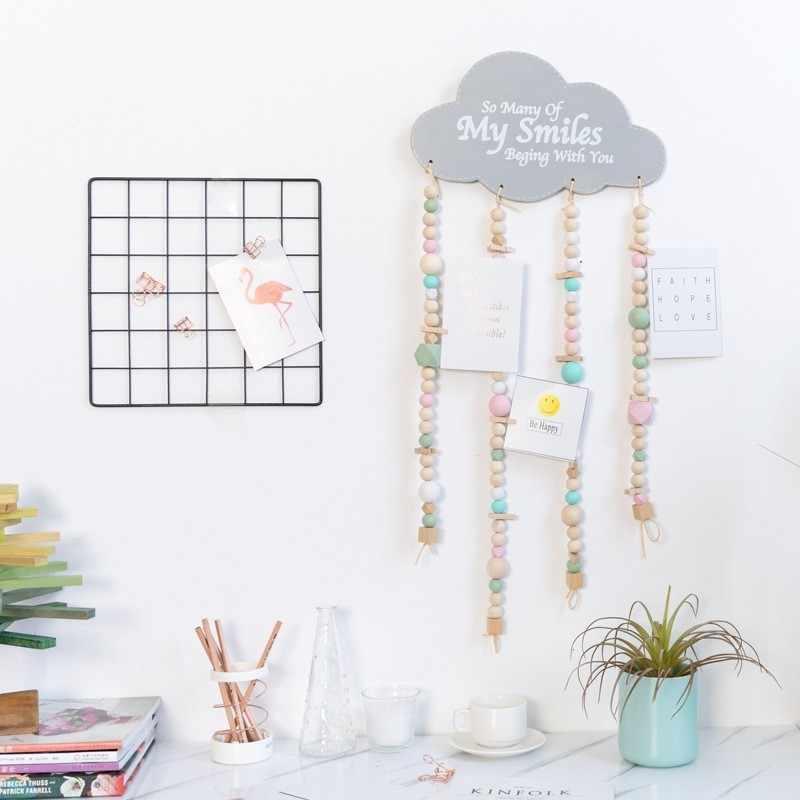 Nordic styl w kształcie chmury drewniane koraliki Tassel wisiorek wiatr gongu wiszące dla dzieci pokój przedszkole dekoracje fotografia rekwizyty