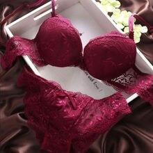 Women Lace Tassel Floral Underwear Suit Push Up Bra Sets Lingerie Bras and Panties