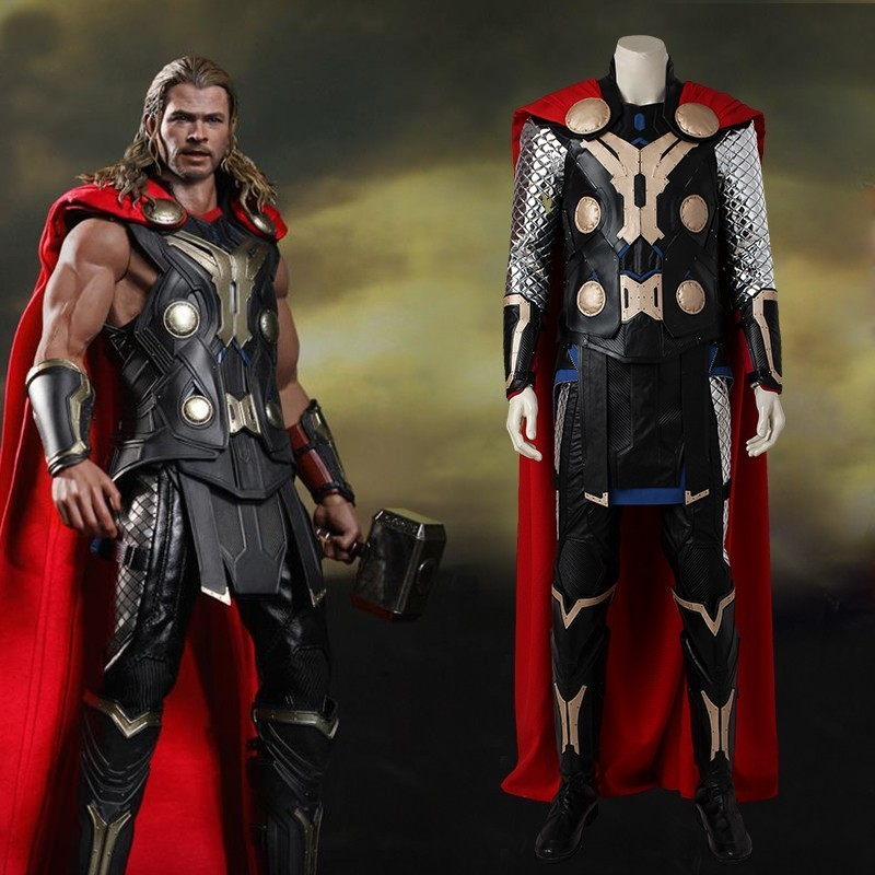 Avengers Age of Ultron Thor Costume Movie Superhero Cosplay Costume Halloween Adult Men Full Set Carnival Clothing With Cloak-in Movie & TV costumes from Novelty & Special Use