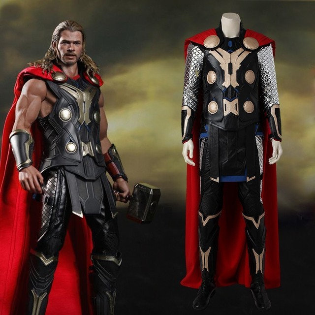Avengers Age of Ultron Thor Costume Movie Superhero Cosplay Costume Halloween Adult Men Full Set Carnival Clothing With Cloak