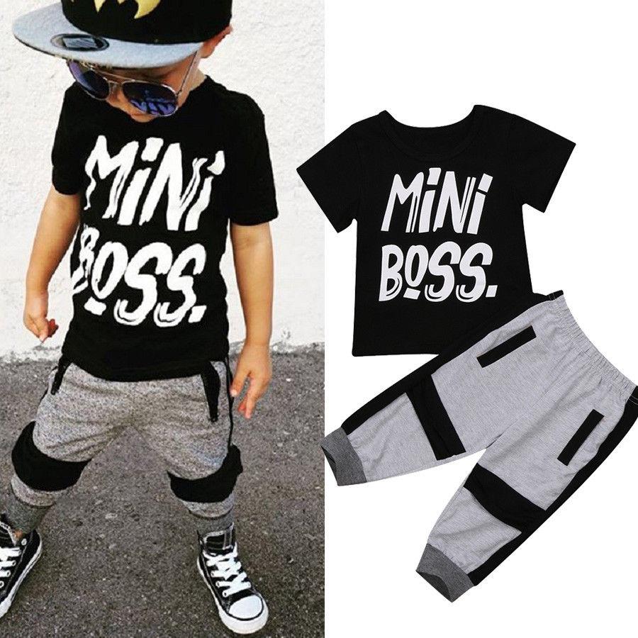 Pudcoco Boys Clothes 2Pcs Toddler Kids Baby Boy T-shirt Tops Pants  Outfits Set Clothes Age 1-6T