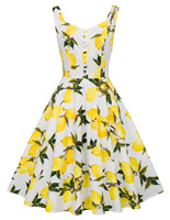 Womens Vintage Laides Sleeveless Floral Skater Swing Dress Evening Party Dress