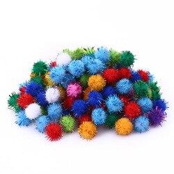 100 pçs colorido bolas de brilho pompom peludo bolas crianças diy artesanato suprimentos artesanais criativo decoração materiais pom poms kq001
