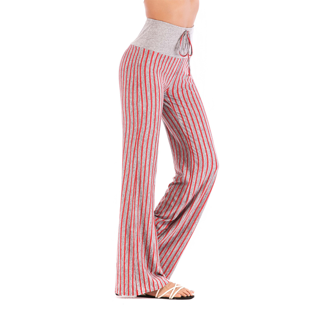 M-2XL Oversize Women Harem   Pants   High Waist Black Green Red Gray Striped   Wide     Leg     Pants   Palazzo Hippie Sports Trousers