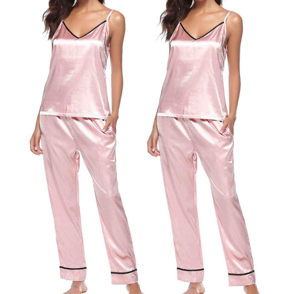 f1bf3fa699 ... Women Lady Silk Satin Pajamas Set Pyjama Sleepwear Nightwear Loungewear  Homewear Sleeveless Pajama Sets PJS ...